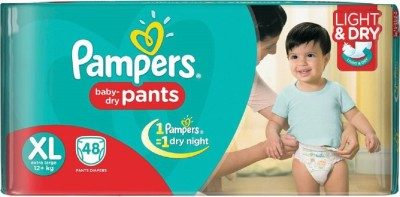 Pampers Pants Light & Dry Baby Diapers, XL 48 Pieces