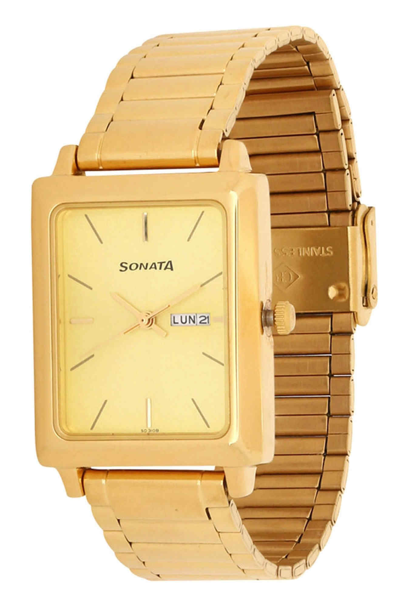 Sonata NG7078YM04 Analog Gold Dial Men's Watch (NG7078YM04)