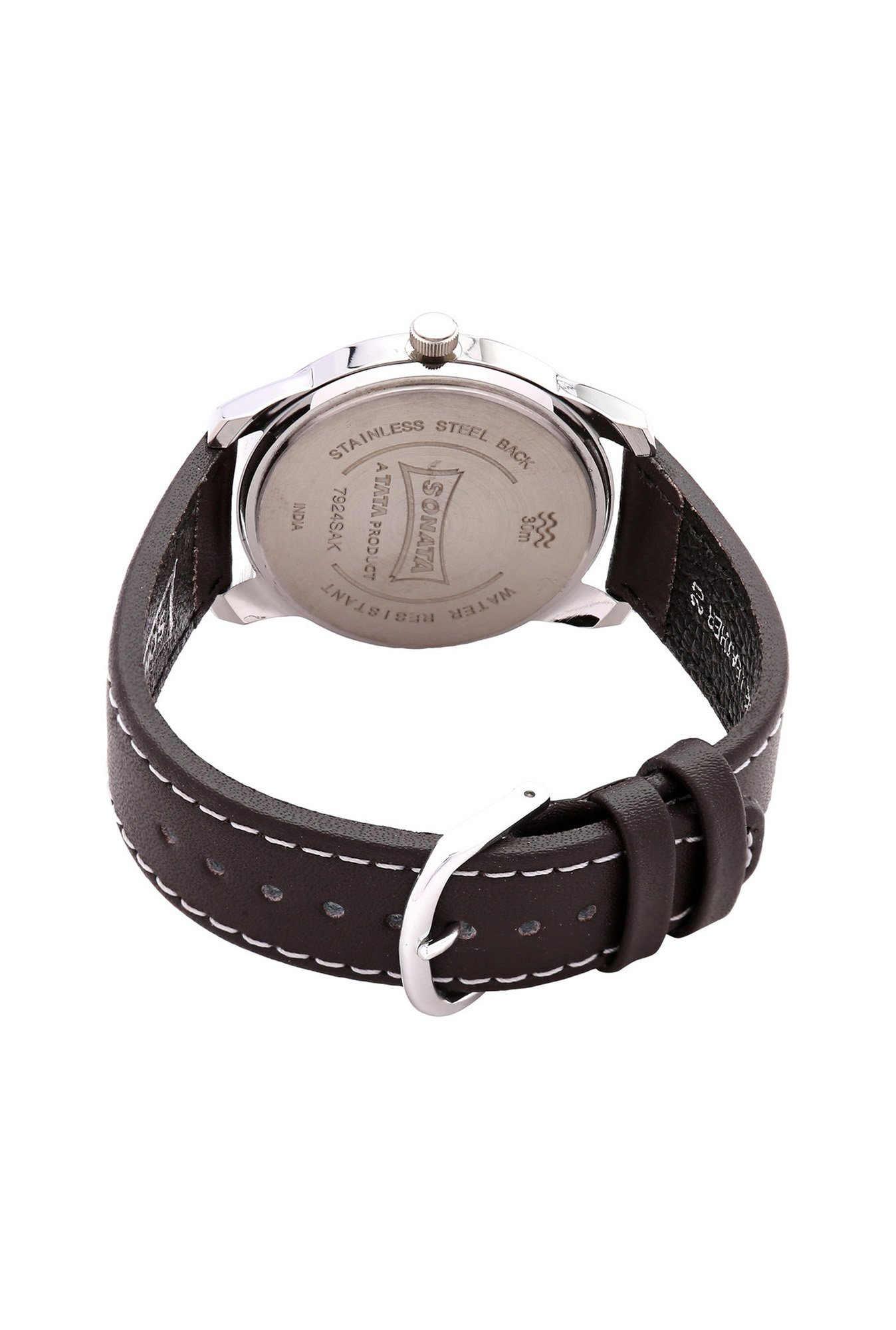 Sonata NH7924SL03C Yuva Analog White Dial Men's Watch