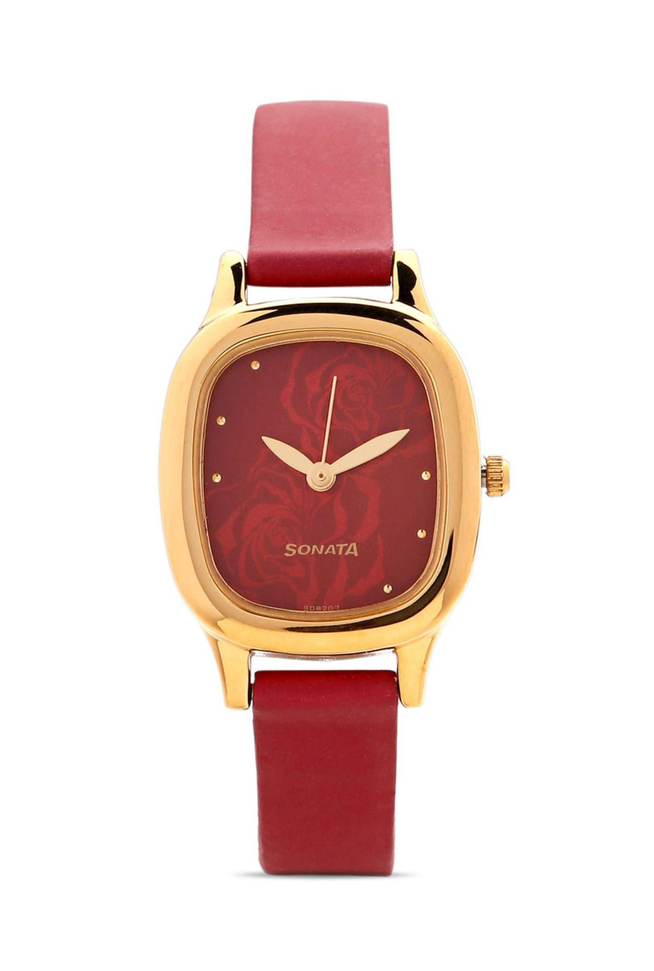 Sonata NG8060YL03C Superfibre Analog Red Dial Women's Watch