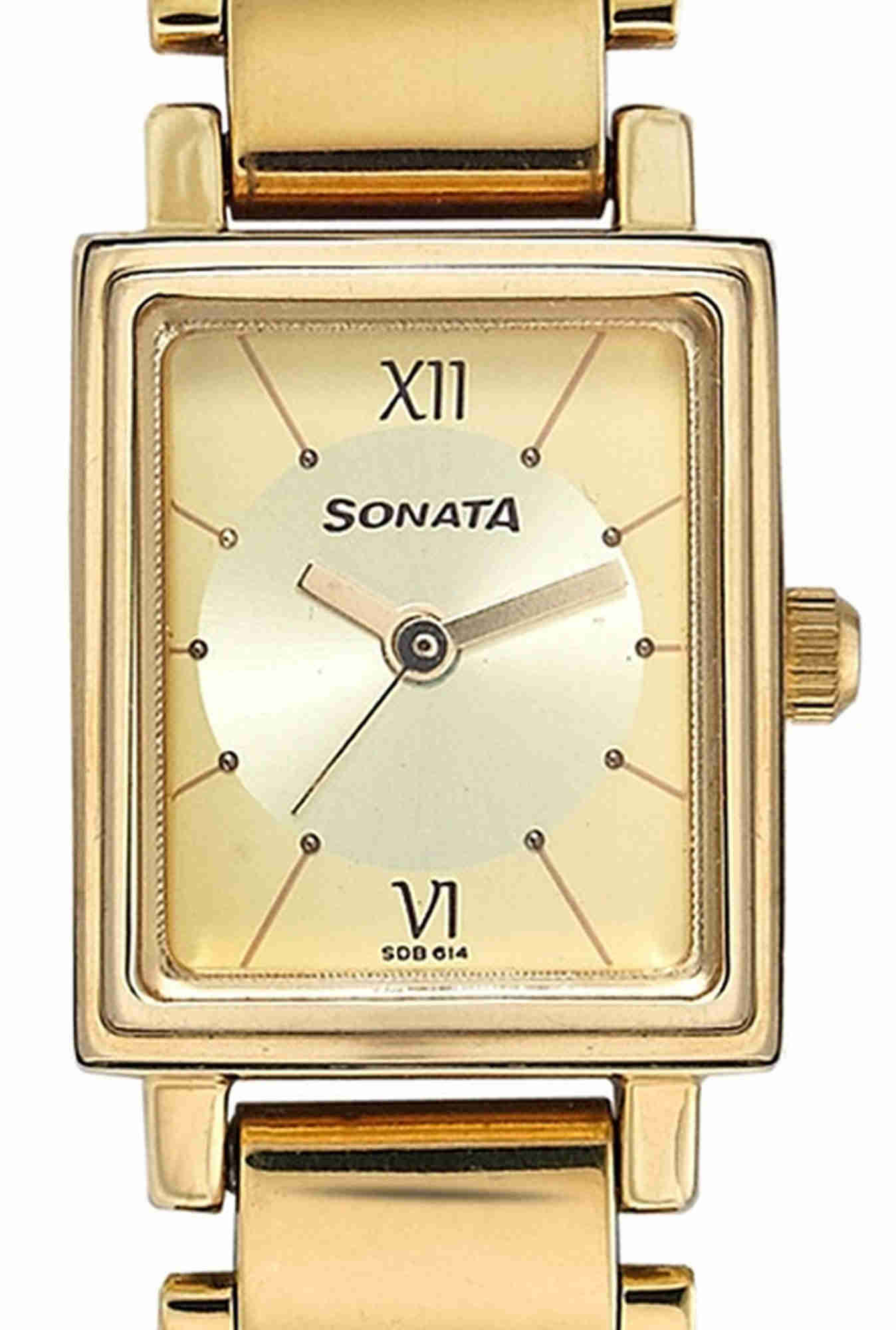 Sonata NF8080YM01 Analog Gold Dial Women's Watch