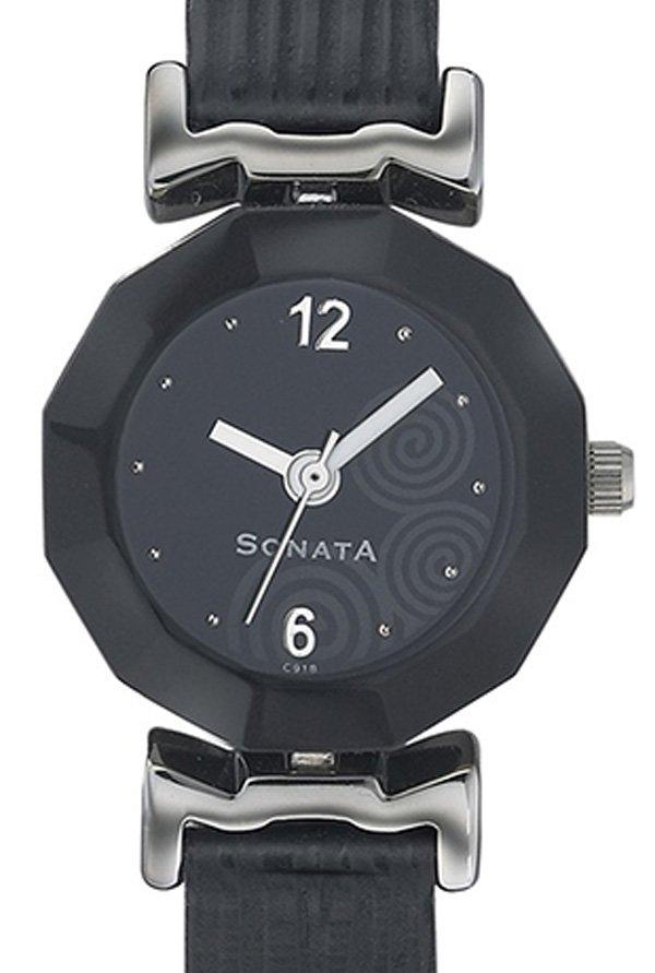 Sonata NH8943SL03J Yuva Analog Black Dial Women's Watch (NH8943SL03J)