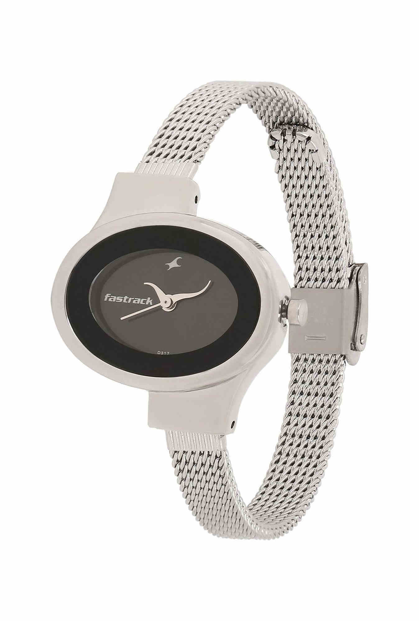 Fastrack NG6015SM02 Analog Black Dial Stainless Steel Women's Watch (NG6015SM02)