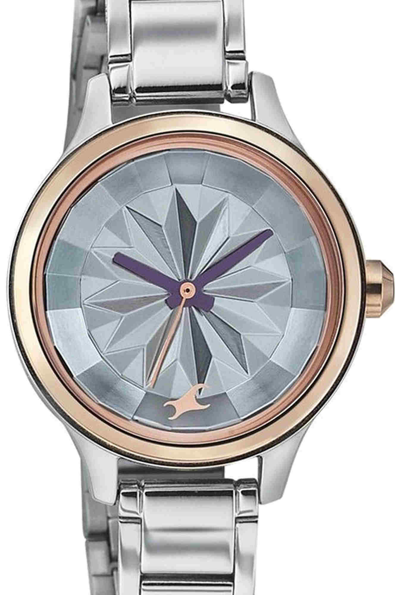 Fastrack 6132KM01 Silver Toned Textured Dial Women's Watch (6132KM01)
