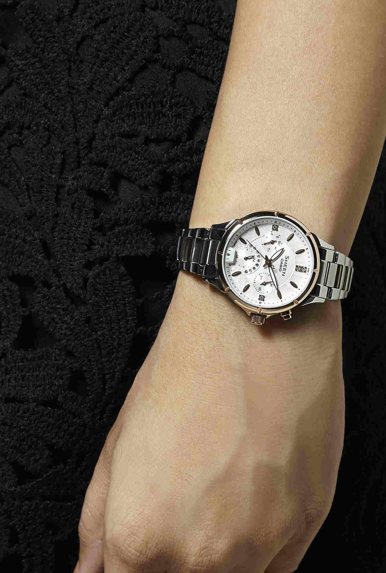 Casio Sheen SHE-3047SG-7AUDR (SX167) Analog White Dial Women's Watch