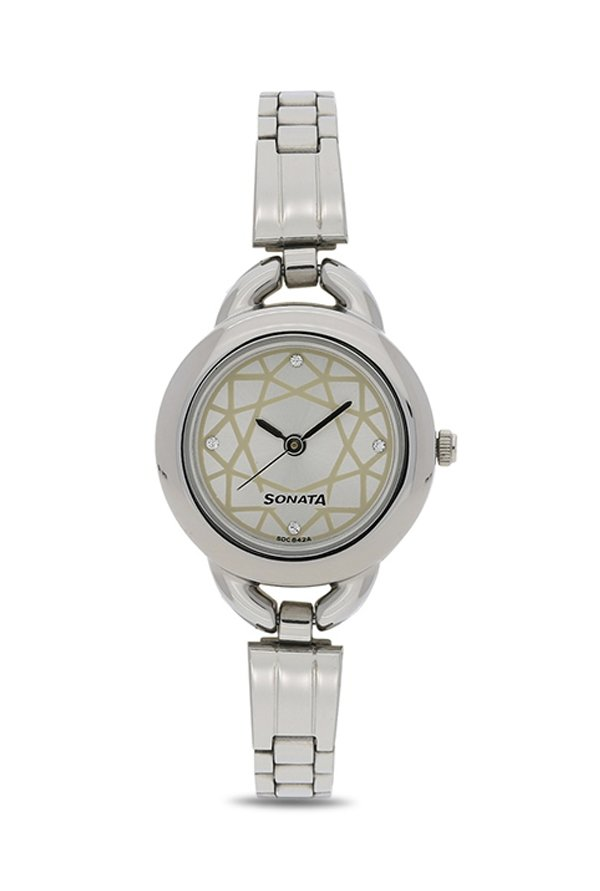 Sonata NG87006SM01AC Analog White Dial Women's Watch (NG87006SM01AC)