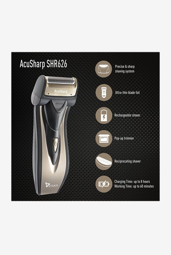 Syska AcuSharp SHR626 Reciprocating Shaver Black/Gunmetal