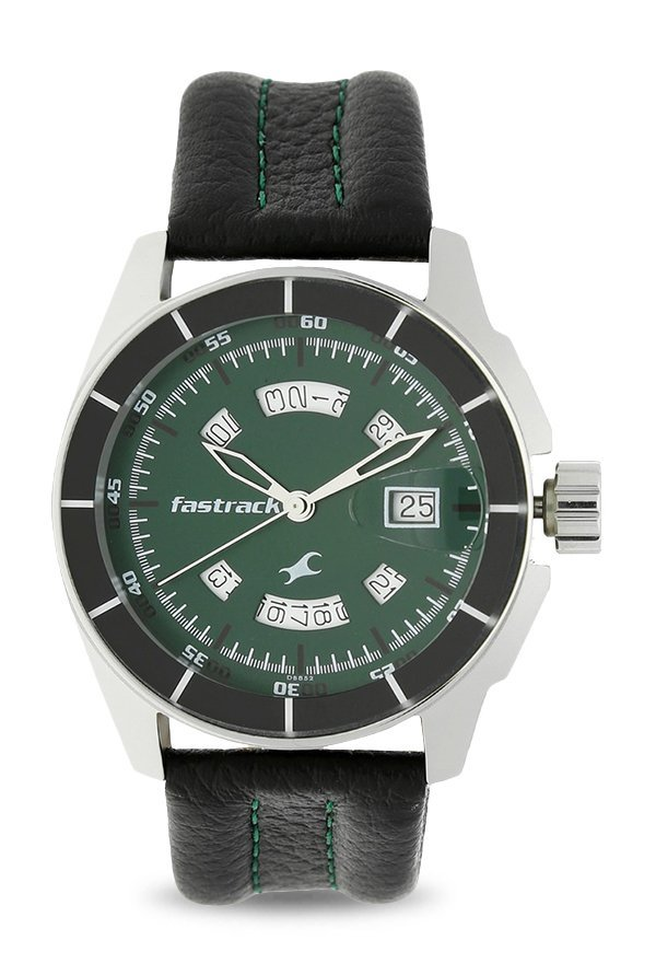 Fastrack 3089SL03 Black Magic Analog Green Dial Men's Watch (3089SL03)