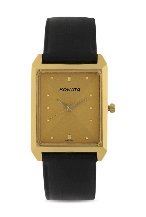 Sonata 7007YL09 Classic Analog Champagne Dial Men's Watch (7007YL09)
