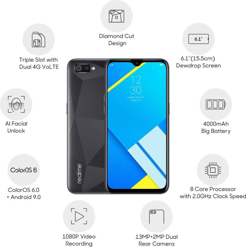 Realme C2 (32 GB, 3 GB RAM) Diamond Black Mobile