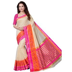 Ishin Chanderi Cotton Saree - Beige