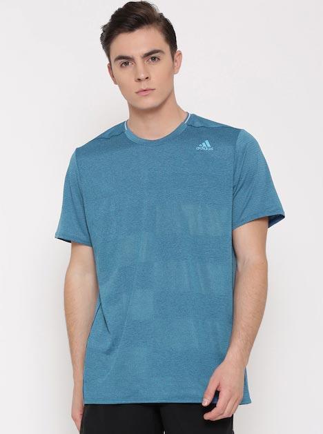 Adidas Men Blue SN Self-Checked Round Neck Running T-shirt