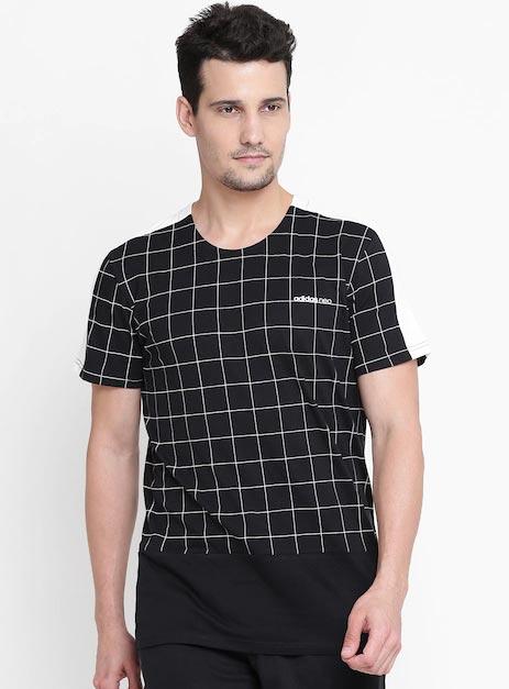 Adidas NEO Men Black CS WC Checked Round Neck T-shirt
