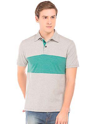 Aeropostale Colour Block Heathered Polo Shirt