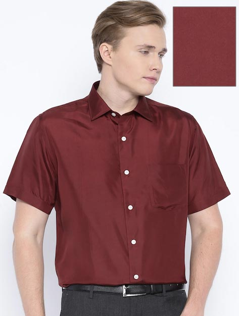 Arrow Maroon Silk Formal Shirt