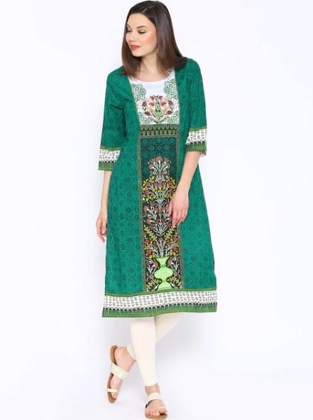 Aurelia Green Printed Kurta