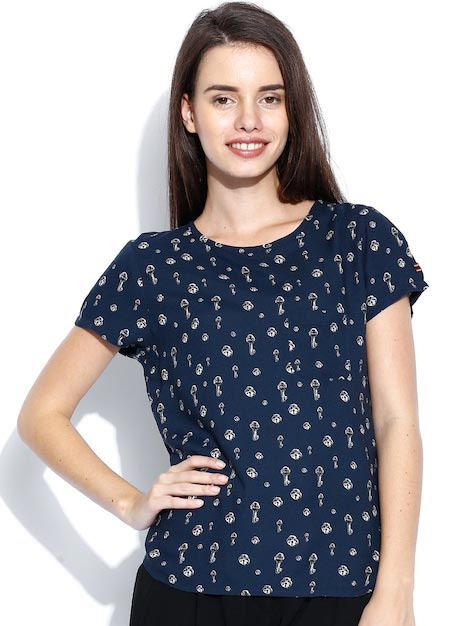 United Colors of Benetton Navy Printed Top