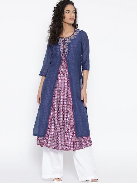 Biba Women Blue & Magenta Printed Layered A-Line Kurta