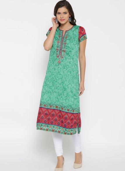 Biba Women Green Printed Straight Kurta