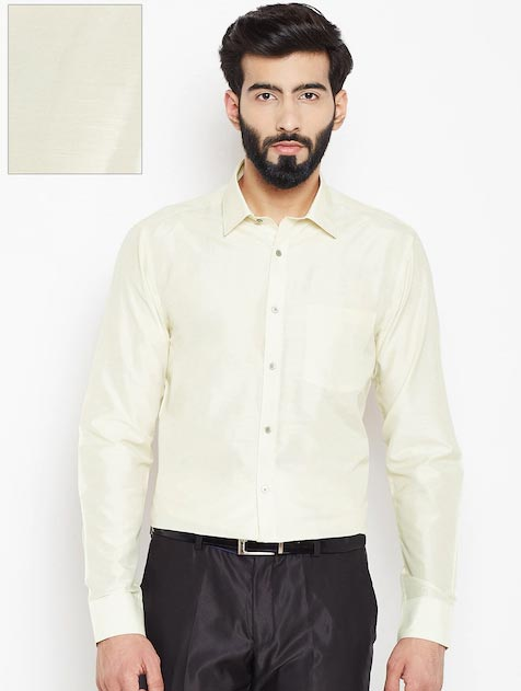 Blackberrys Men Cream-Coloured Silk Formal Shirt
