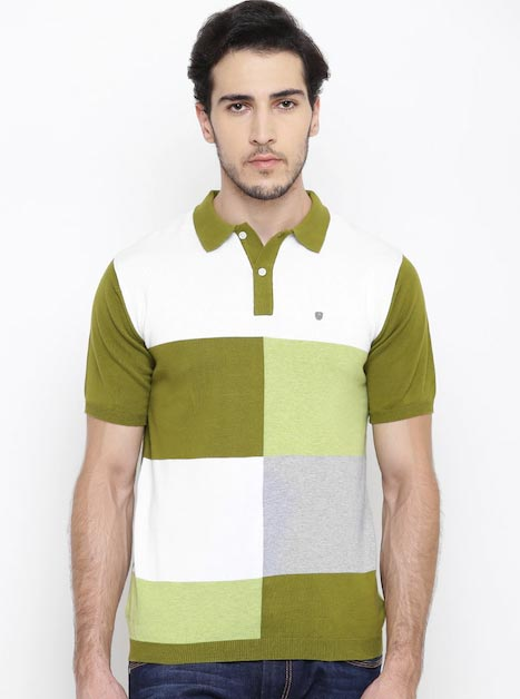 Blackberrys Men Olive Green Checked Polo Collar T-shirt