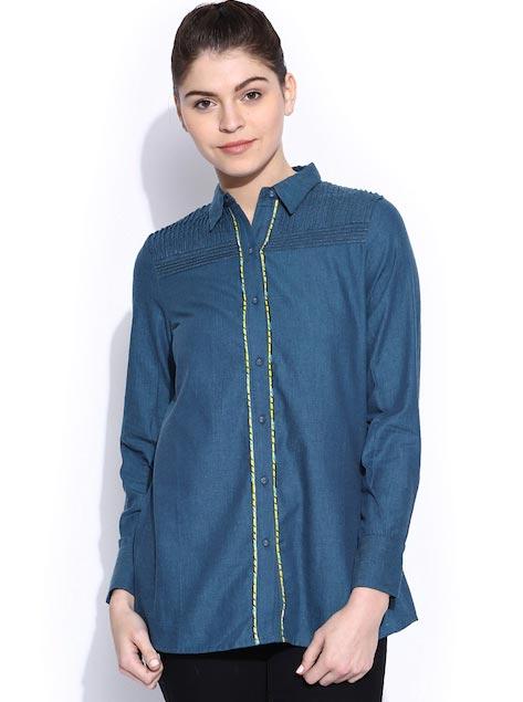 W Women Blue Printed Casual Shirt