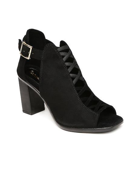 Catwalk - Block - Catwalk Women Black Solid Heeled Boots
