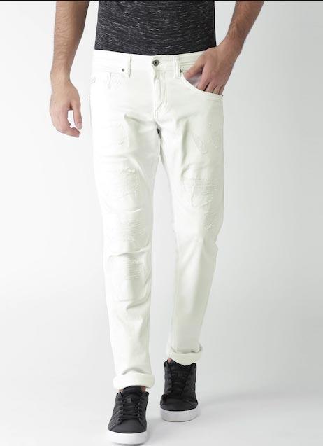 Celio Men White Slim Fit Mid-Rise Mildly Distressed Stretchable Jeans