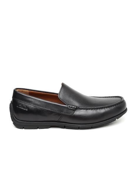 Clarks Men Black Verado Lane Leather Perforated Driving Shoes