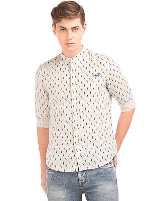Ed Hardy Feather Print Linen Cotton Shirt