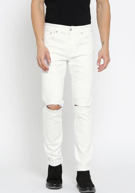 FOREVER 21 Men White Slim Fit Mid-Rise Slash Knee Stretchable Jeans