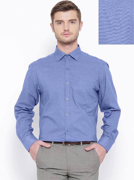 John Players Blue Self-Checked Formal Shirt