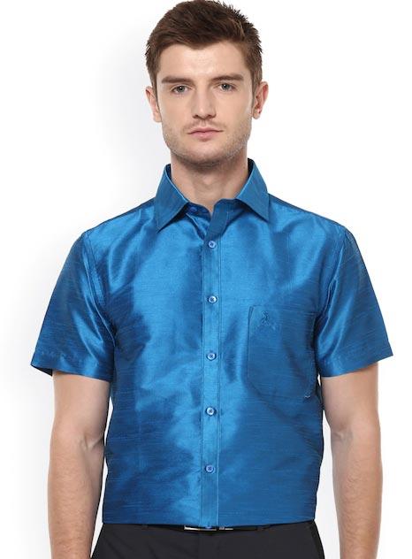Khoday Williams Men Blue Regular Fit Solid Formal Shirt