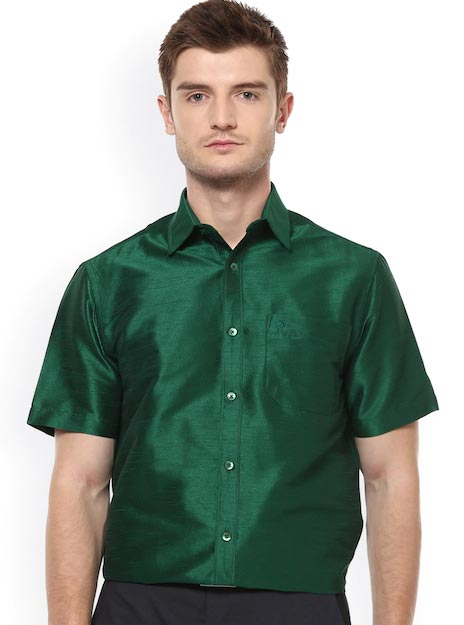 Khoday Williams Men Green Regular Fit Solid Formal Shirt