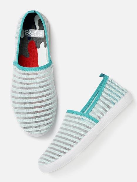 Kook N Keech Women Blue Woven Regular Slip-On Sneakers