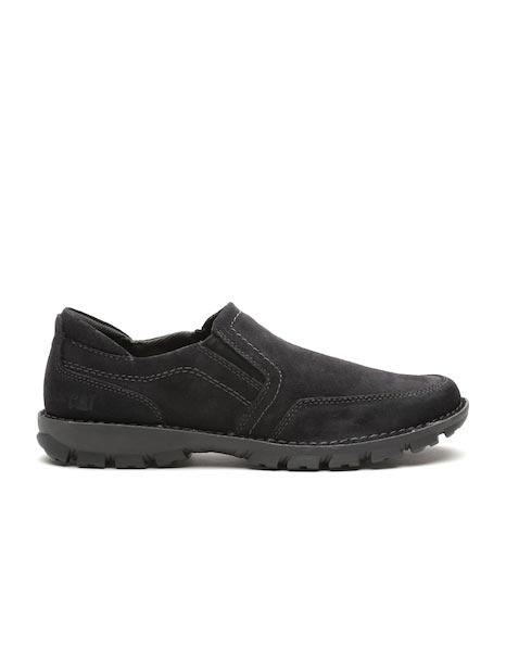 CAT Men Black Solid Slip-On Suede Sneakers