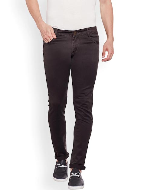 Rodamo Men Brown Slim Fit Mid-Rise Clean Look Stretchable Jeans