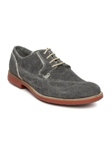 Ruosh Casual Men Charcoal Grey Leather Boots