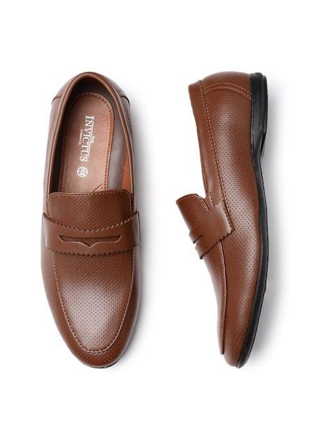 INVICTUS Men Tan Brown Perforated Semiformal Slip-Ons
