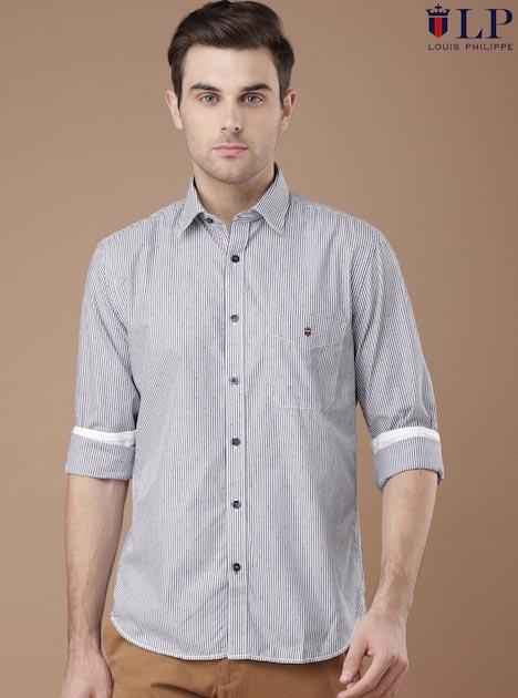 Louis Philippe Sport Men White & Navy Union Slim Fit Striped Casual Shirt