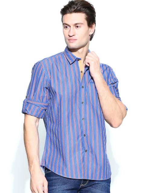 John Players Men Blue & Red Striped Trim Fit Casual Shirt