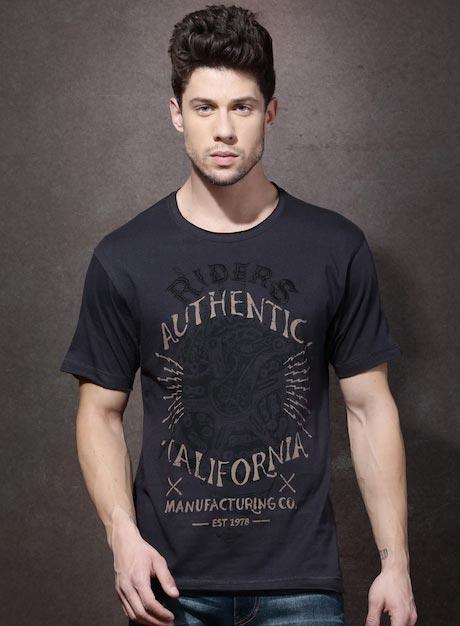Roadster Men Purple Printed Round Neck T-shirt