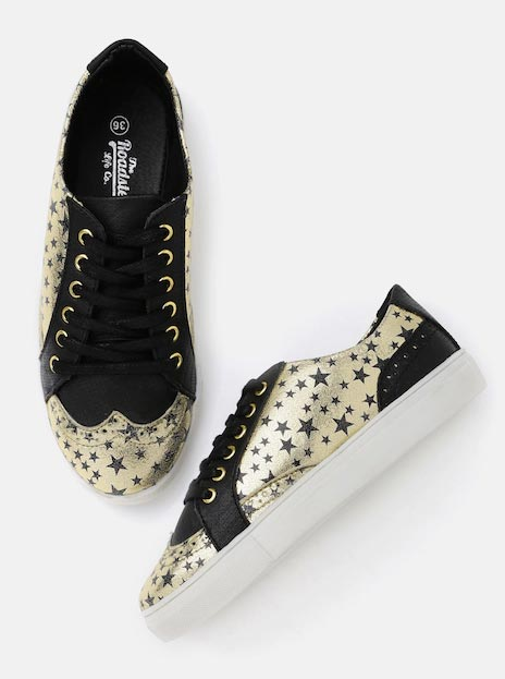 Roadster Women Gold-Toned Printed Regular Casual Shoes