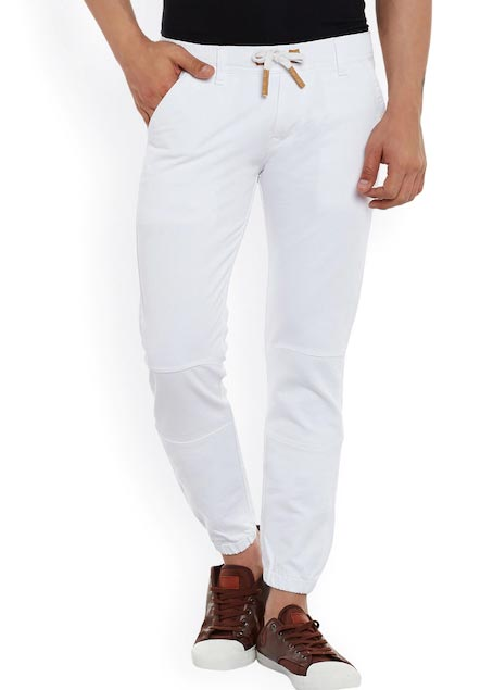Rodamo Men White Slim Fit Mid-Rise Clean Look Stretchable Jogger Jeans