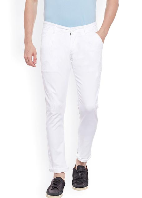 Rodamo Men White Slim Fit Mid-Rise Mildly Distressed Stretchable Jeans