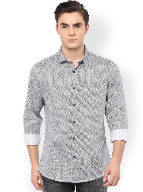 SPYKAR Men Black & White Slim Fit Printed Casual Shirt