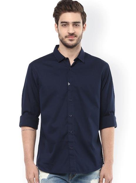 SPYKAR Men Navy Slim Fit Solid Casual Shirt