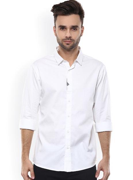 SPYKAR Men White Satin Slim Fit Casual Shirt