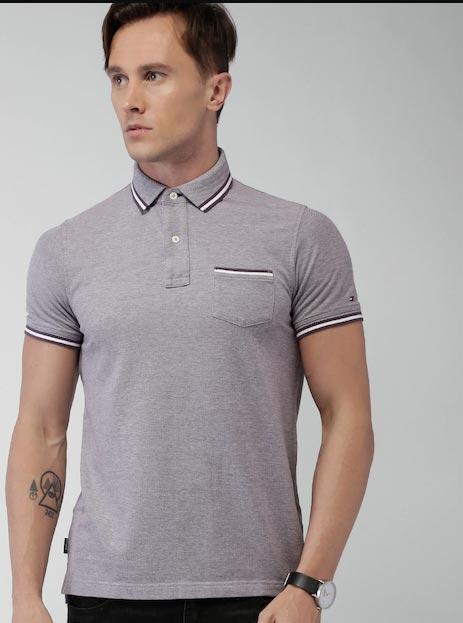 Tommy Hilfiger Purple Slim Fit Polo Collar T-shirt