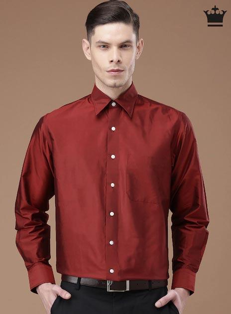 Van Heusen Maroon Silk Formal Shirt